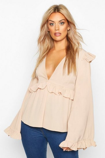 Womens Stone Plus Frill Detail Blouse