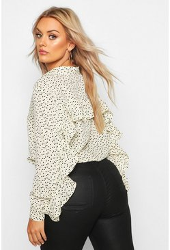Womens Cream Plus Heart Print Ruffle Boyfriend Shirt