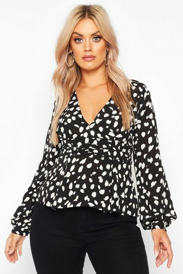 Black Plus Animal Plunge Blouse