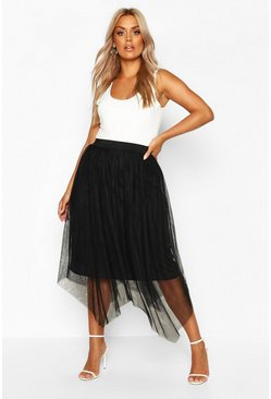 Black Plus Midi Skirt