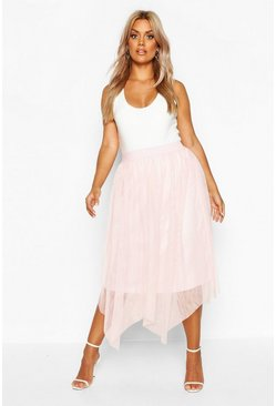 Womens Pink Plus Midi Skirt