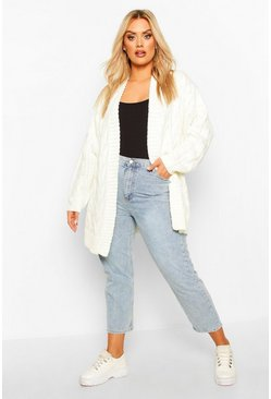 Cream Plus Chunky Edge to Edge Cable Rib Cardigan