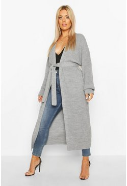 Silver Plus Longline Knitted Maxi Cardigan