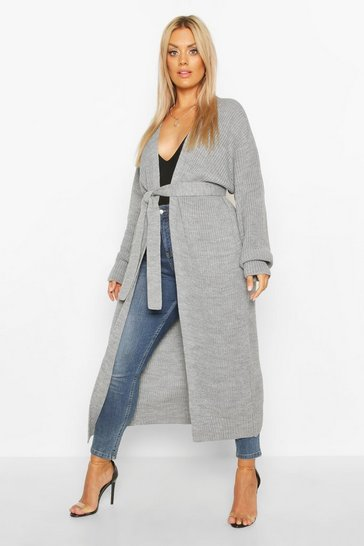 Womens Silver Plus Longline Knitted Maxi Cardigan