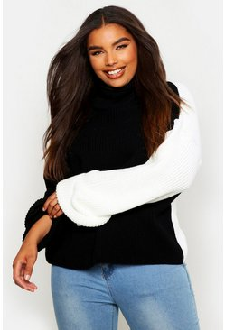 Black Plus Contrast Colour Block Roll Neck Sweater