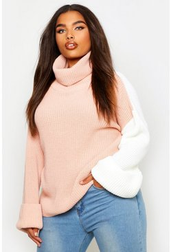 Womens Nude Plus Contrast Colour Block Roll Neck Sweater