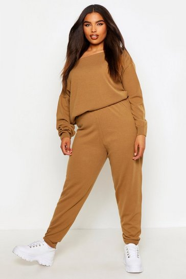 Womens Camel Plus Slash Neck Knitted Lounge Set
