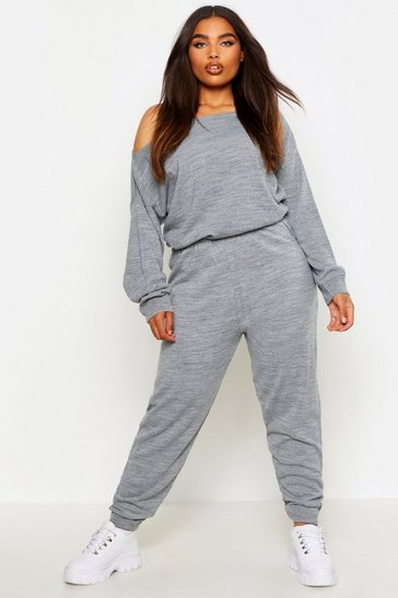 Womens Silver grey Plus Slash Neck Knitted Lounge Set