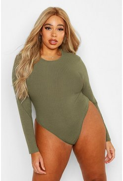 Khaki Plus Soft Rib Crew Neck Long Sleeve Bodysuit