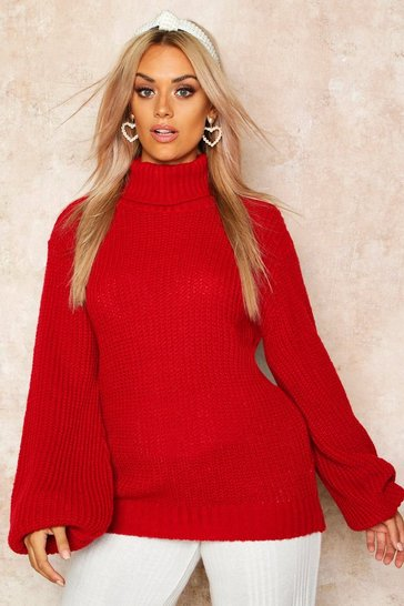 Womens Red Plus Roll Neck Balloon Sleeve Jumper