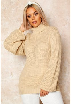 Stone Plus Roll Neck Balloon Sleeve Jumper