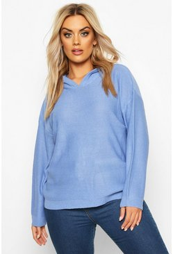 Womens Blue Plus Knitted Jumper With Hood