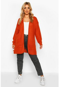 Orange Plus Fisherman Rib Knit Edge To Edge Cardigan