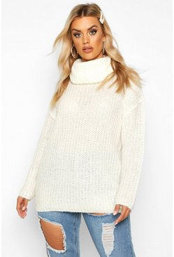 Womens Oatmeal Plus Oversize Cowl Neck Knit Jumper