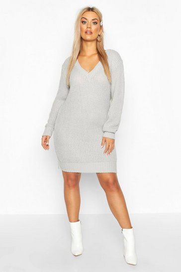 Womens Silver grey Plus V Neck Chunky Knitted Jumper Dress