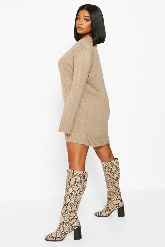 Plus Crew Neck Knitted Jumper Dress