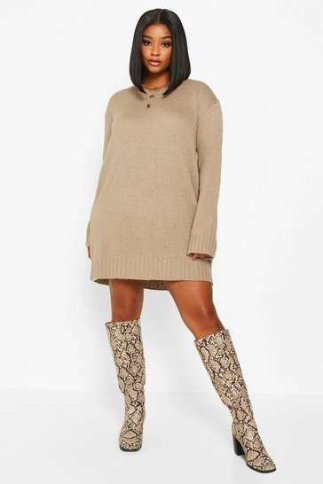 Womens Taupe Plus Crew Neck Knitted Jumper Dress