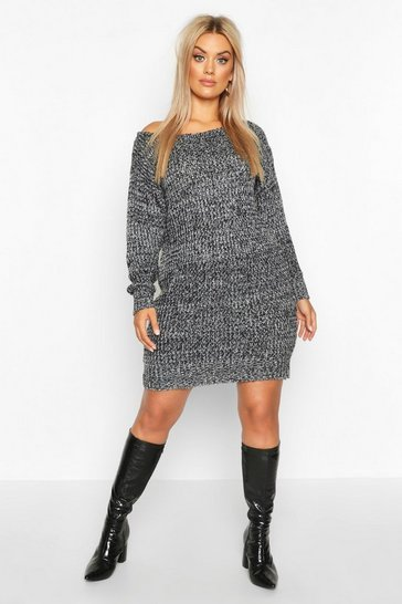 Womens Black Plus Marl Slash Neck Knitted Jumper Dress
