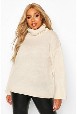 Ivory Plus Roll Neck Drop Shoulder Jumper
