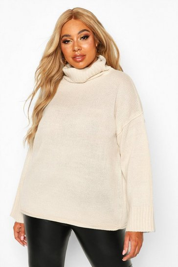 Womens Ivory Plus Roll Neck Drop Shoulder Jumper