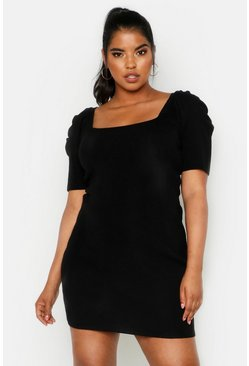 Dam Black Plus Puff Sleeve Knitted Dress