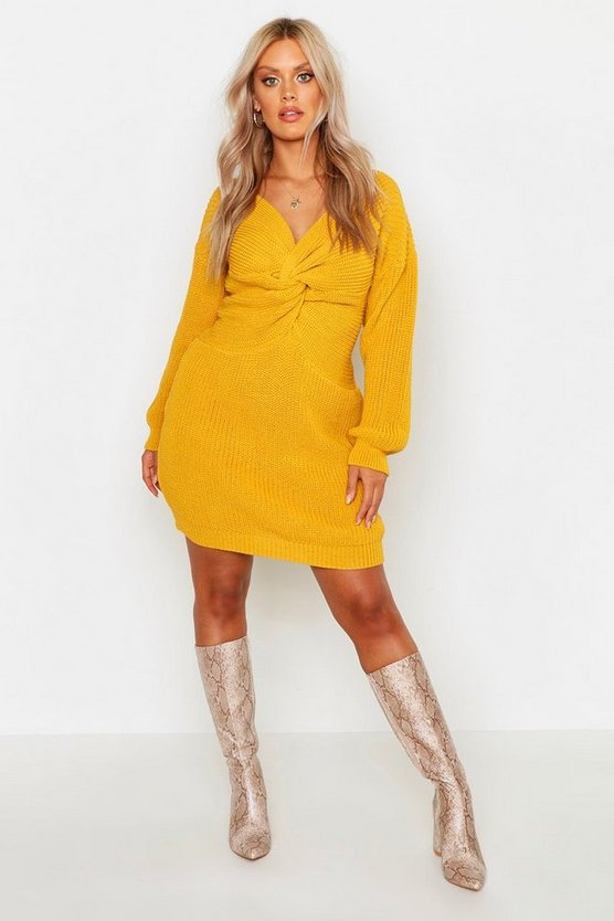 Mustard Plus Twist Front Knitted Sweater Dress
