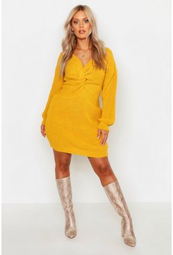 Womens Mustard Plus Twist Front Knitted Sweater Dress