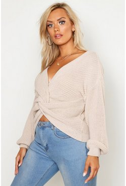 Womens Stone Plus Twist Front Knitted Sweater