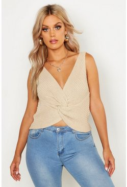 Womens Stone Plus Twist Front Knitted Vest Top