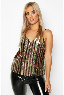 Womens Bronze Plus Sequin Stripe Cami