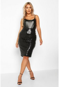 Womens Black Plus Sequin Midi Skirt