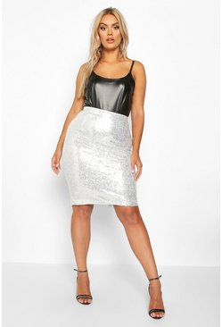 Womens Silver Plus Sequin Midi Skirt
