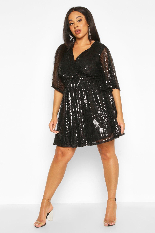 60s 70s Plus Size Dresses, Clothing, Costumes Plus Sequin Kimono Sleeve Skater Dress  AT vintagedancer.com