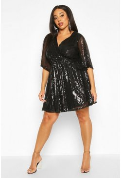 Womens Black Plus Sequin Kimono Sleeve Skater Dress