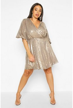 Womens Gold Plus Sequin Kimono Sleeve Skater Dress