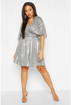 Womens Gun metal Plus Sequin Kimono Sleeve Skater Dress