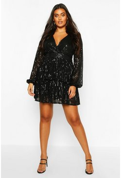 Womens Black Plus Sequin Plunge Tiered Skater Dress