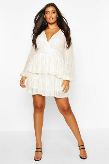 Cream Plus Sequin Plunge Tiered Skater Dress