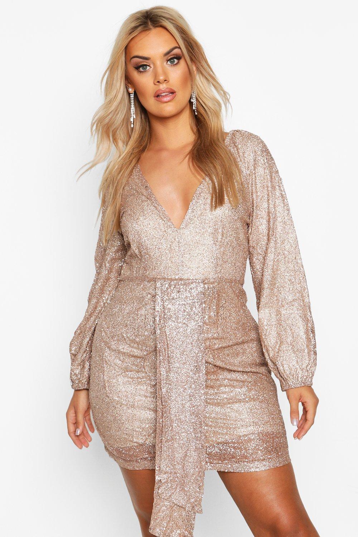 60s 70s Plus Size Dresses, Clothing, Costumes Womens Plus Sequin Plunge Ruched Detail Dress - Gold - 16 $28.00 AT vintagedancer.com