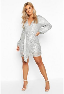 Silver Plus Sequin Plunge Ruched Detail Dress
