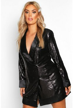 Womens Black Plus Sequin Wrap Blazer Dress