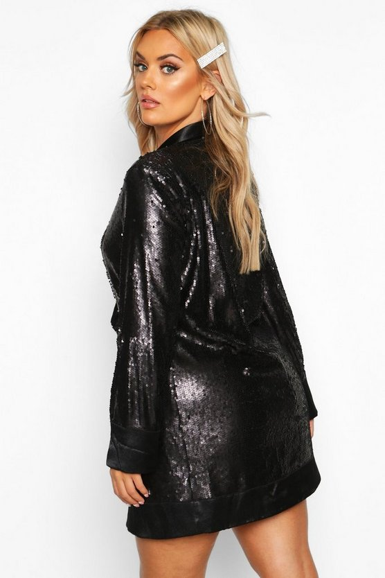 Plus Sequin Wrap Blazer Dress