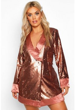 Bronze Plus Sequin Wrap Blazer Dress