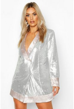Silver Plus Sequin Wrap Blazer Dress