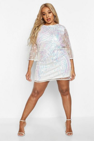 Womens Ivory Plus Iridescent Sequin Shift Dress