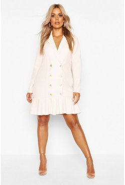 Womens Blush Plus Blazer Frill Hem Dress