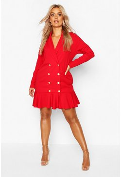 Womens Red Plus Blazer Frill Hem Dress