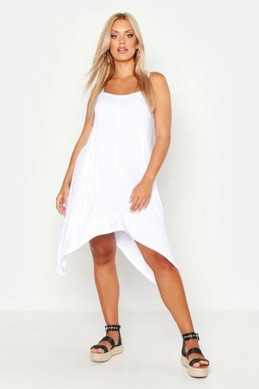Womens White Plus Strappy Beach Hanky Hem Sundress