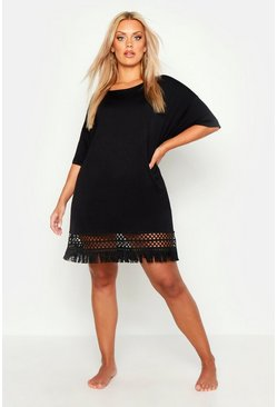 Womens Black Plus Crochet Tassel Hem Beach Dress
