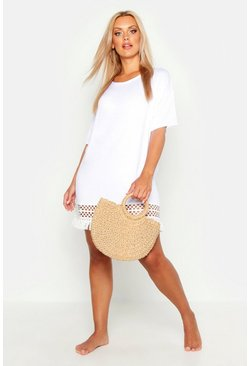 Womens White Plus Crochet Tassel Hem Beach Dress